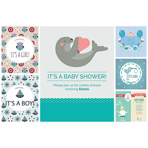 invite baby shower vector baby shower card cute set vector free download
