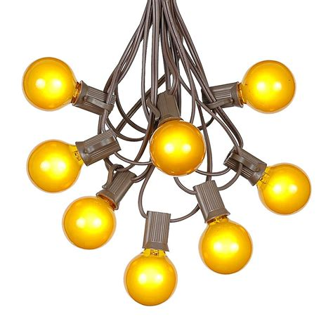 100 Yellow G40 Globe Round Outdoor String Light Set On Novelty String Lights