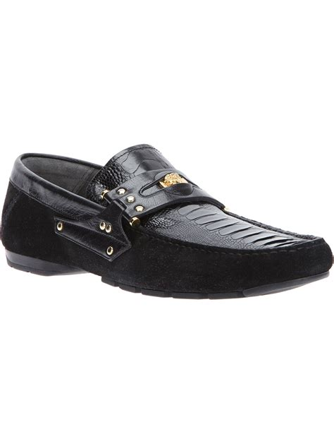 versace loafers for versace loafer car shoe in black for lyst