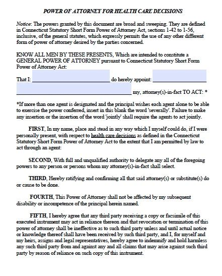 free connecticut medical power of attorney form pdf template