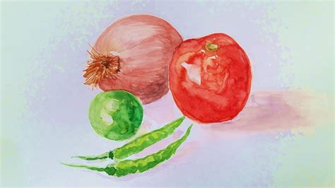watercolor tutorial still life how to draw realistic vegetables still life watercolor