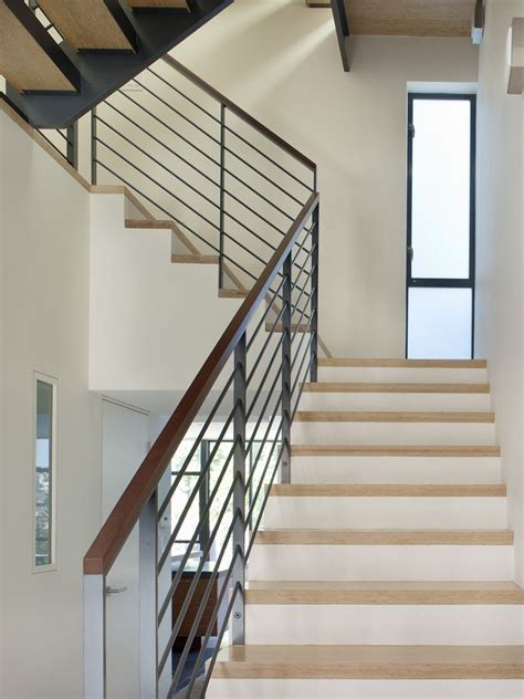 modern banister handrailing staircase modern with metal railing frosted