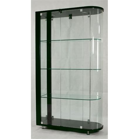 Contemporary Living Room Style With Curved End Glass Curio Glass Door Curio Cabinet