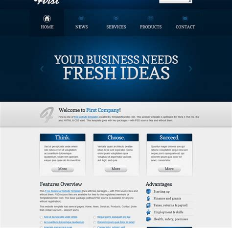 free html5 templates for business firstidea free html5 business website template