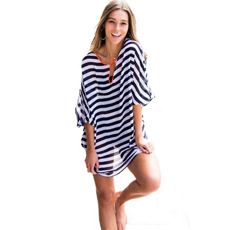Cover Ups New Fashion Striped Womens Swimsuit Coverups