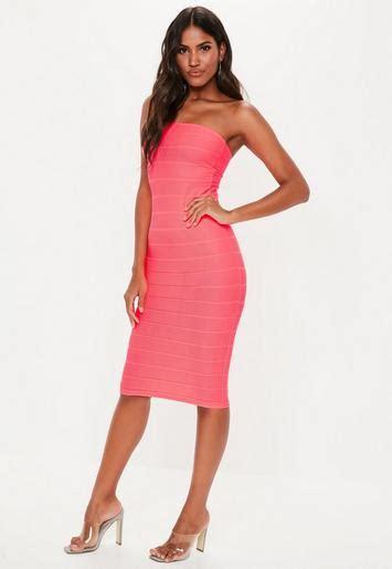 hot pink bandeau bandage midi dress missguided