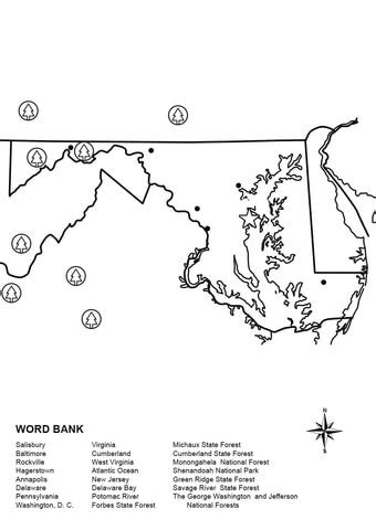 Maryland Map Worksheet coloring page | Free Printable