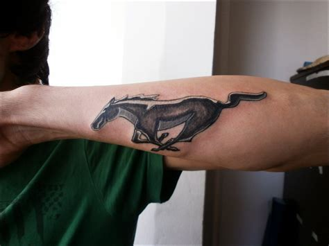 mustang tattoos black and grey mustang on back neck