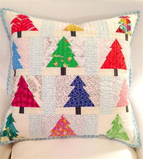 christmas tree pattern patchwork christmas trees pieced patchwork pillow by tikki