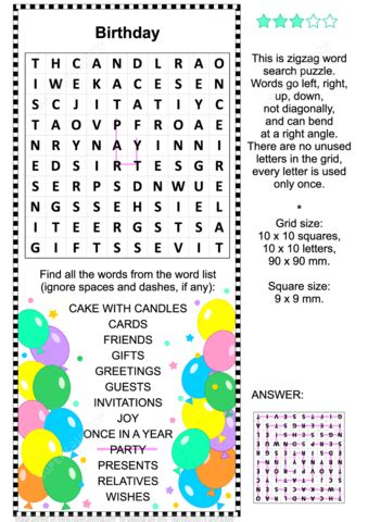 Search Birthday Birthday Zigzag Word Search Puzzle Free Printable Puzzle
