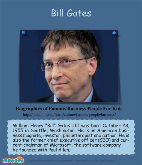 bill gates business biography bill gates famous business people for kids mocomi com