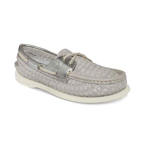 sperry top sider womens ao boat shoes in gray grey woven