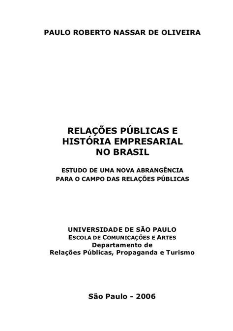 Relacoes Publicas E Historia Empresarial No Brasil