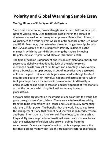 Is Global Warming Made Essay by Polarity And Global Warming Sle Essay