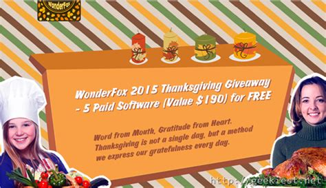 Free Giveaway Software - thanksgiving giveaway software worth usd 190 for free from wonderfox geekiest net