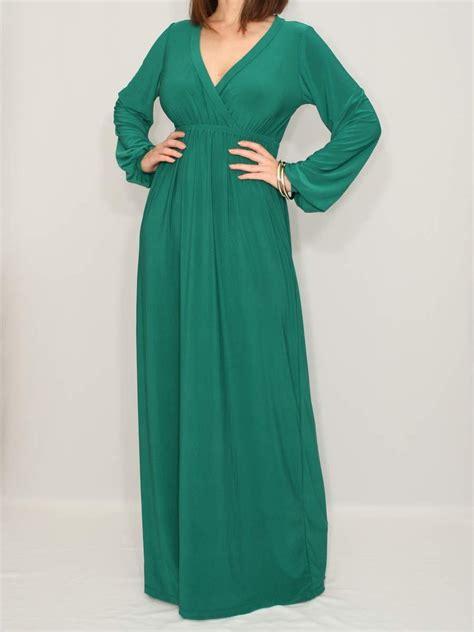 emerald green long sleeve dress emerald green dress maxi dress long sleeve dress by ksclothing