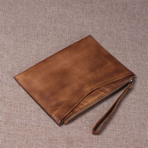 Handmade Wristlet - handmade grain leather travel wallet clutch bag