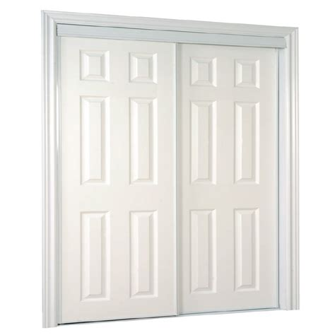 Interior Sliding Doors Lowes Shop Reliabilt White 6 Panel Sliding Door Common 72 In X 80 5 In Actual 72 In X 80 Inches