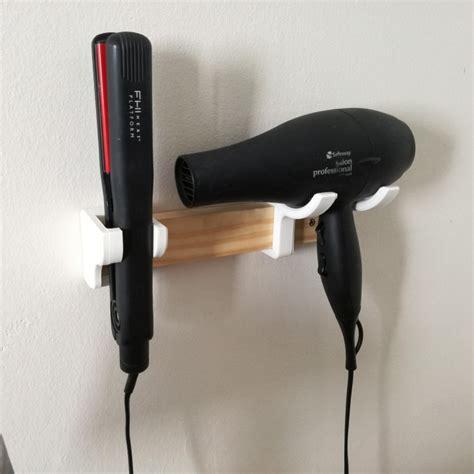 Hair Dryer And Straightener Hanger 3d printable hair dryer and straightener rack by jason suter