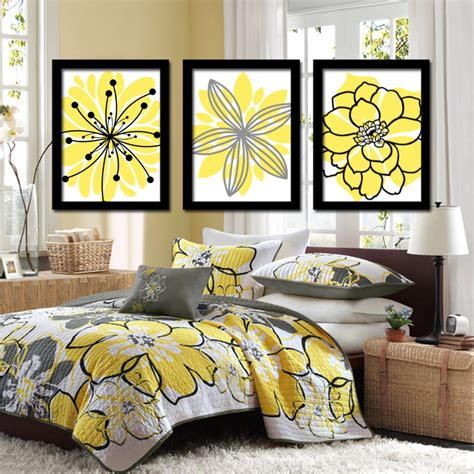 bedroom prints yellow black wall art canvas or prints charcoal gray flower