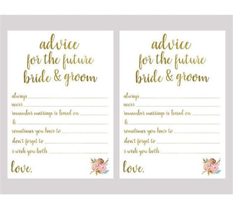 Advice For And Groom Cards Template by Advice For The And Groom Bridal Shower