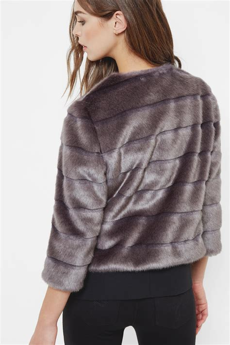 Cropped Fur Jackets by Ted Baker Cropped Faux Fur Jacket Lyst