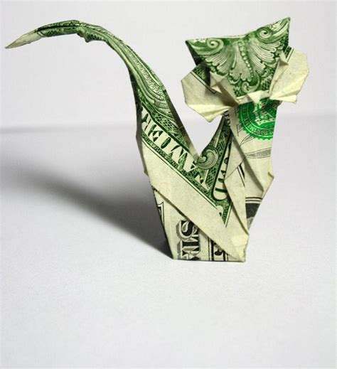 Money Origami Cat - 30 excellent exles of dollar bill origami