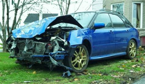 crashed subaru wrx car crash subaru impreza sti in montreal area gtspirit
