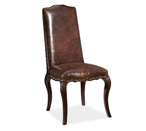 leather dining side chairs calais leather dining side chair pottery barn