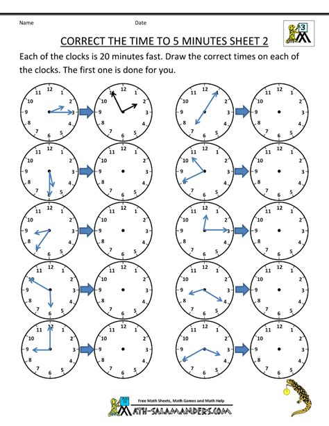 Time Worksheet by Telling Time Clock Worksheets To 5 Minutes