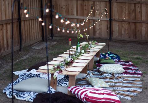 backyard dinner party ideas simple outdoor party seating garden party pinterest