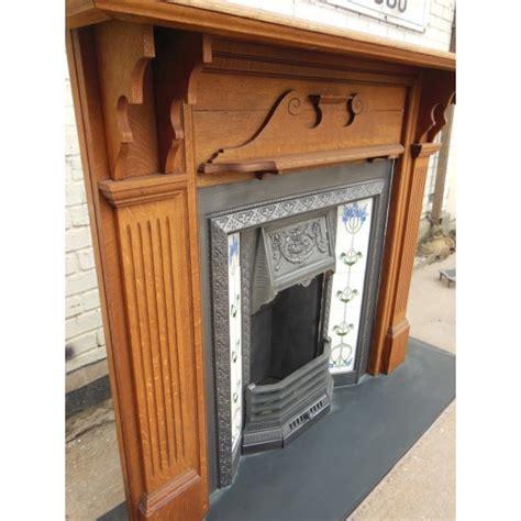 Vintage Tile Fireplace Surround by Antiques Bazaar 1837 To 1901 Original Oak