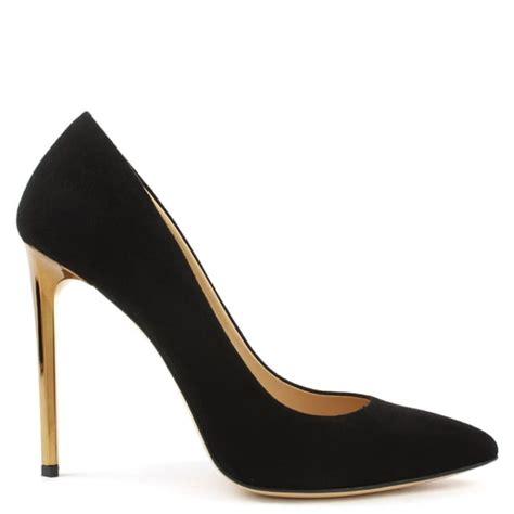 daniel meredith black suede gold heel court shoes
