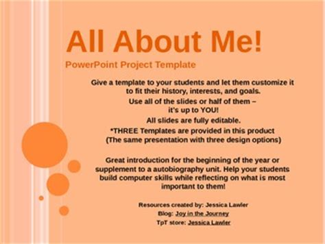 All About Me Powerpoint Tem By Joy In The Journey By Jessica Lawler Teachers Pay Teachers About Me Powerpoint Template
