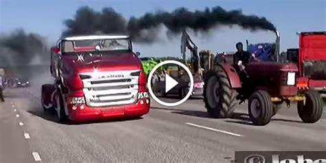 monster trucks drag racing scania cabrio truck vs old tractor monster drag