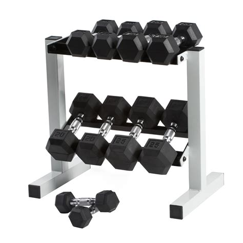 Rubber Hex Dumbbell Set With Rack by Cap 150 Lb Rubber Hex Dumbbell Set 5 25 Lbs In 5 Lb