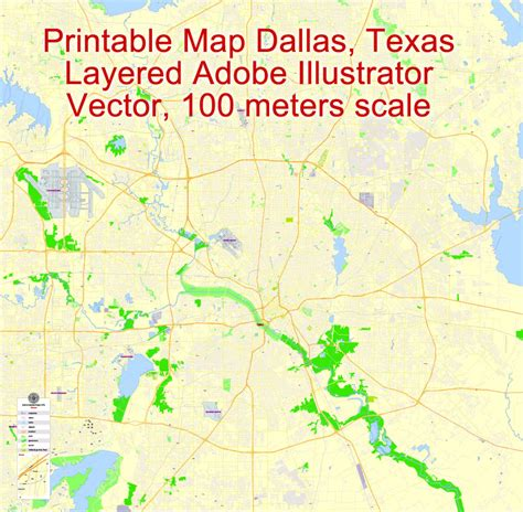 dallas texas on us map dallas printable map texas us exact vector map g view city plan level 17 100 meters