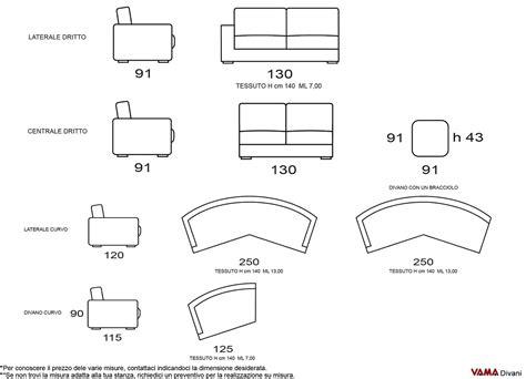 misure divani divano moderno semitondo in tessuto sfoderabile di grandi