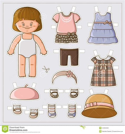 cute paper doll stock vector image 43494530