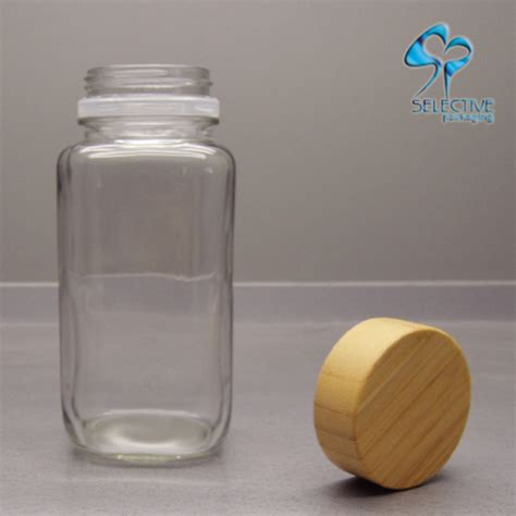 Transparent Glass 300ml 300ml wooden lids transparent cosmetic glass bottle