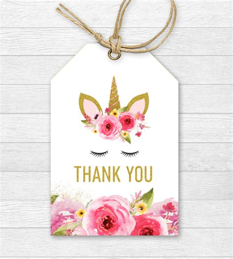 printable unicorn thank you tags unicorn birthday thank you tags pink gold glitter