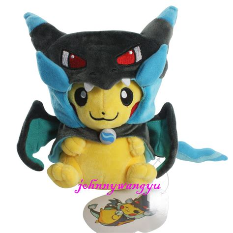 New Pikachu With X Charizard Hat Plush Soft Stuffed Animal 9 pikachu with x charizard hat plush soft stuffed animal doll new ebay