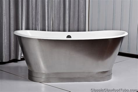 cast bathtub 67 quot cast iron double ended stainless steel slipper pedestal tub classic clawfoot tub