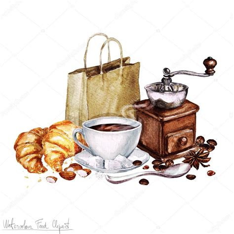 clipart cibo clipart cibo dell acquerello caff 232 e cornetto foto