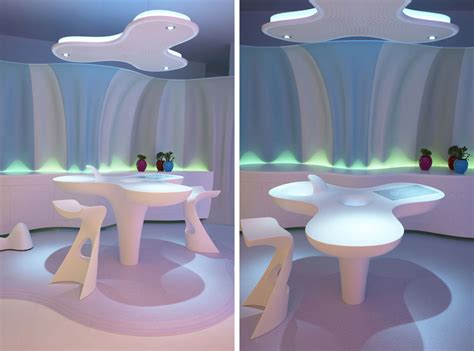 karim rashid interior design futuristic home made of corian and designed by karim