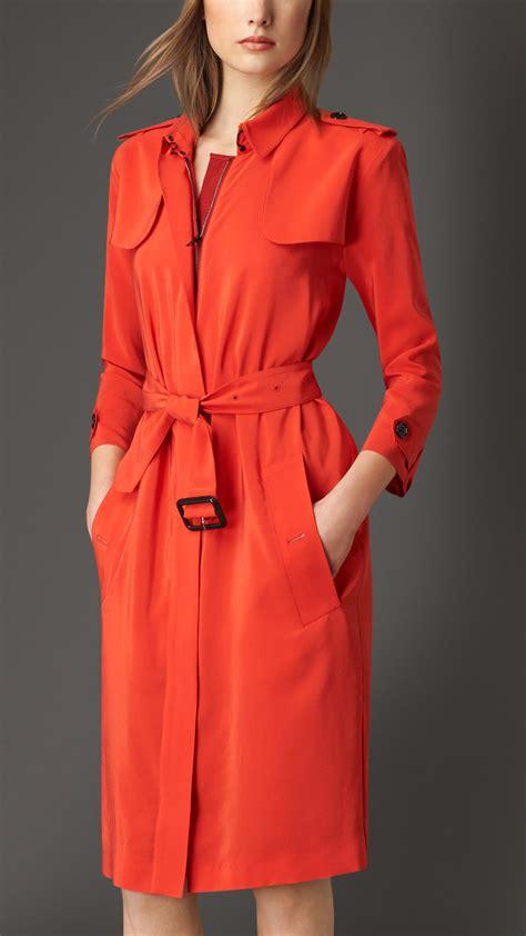 Dress Coats burberry zip front silk trench coat dress in orange lyst