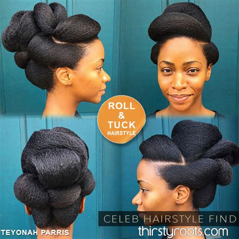 desingn by rolling some hair teyonah parris roll and tuck hairstyle for natural hair