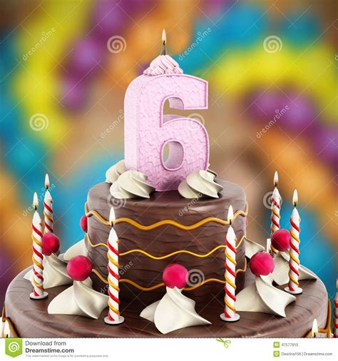 torta con candele torta di compleanno con il numero 6 acceso candela