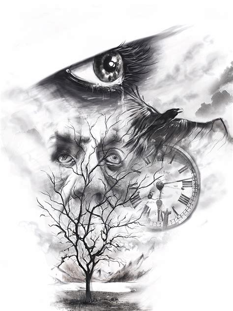 photoshop tattoo design photoshop sketch tree lake mountains eye