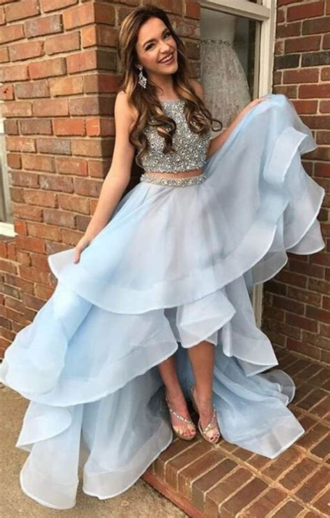 light blue dresses for teens two pieces prom dress light blue prom dress prom dresses